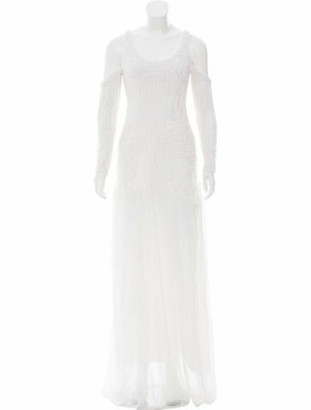Wes Gordon 2016 Cold Shoulder Evening Gown White
