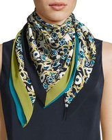 Lafayette 148 New York Gilded Garden Floral-Print Silk Scarf, Green Tea Multi