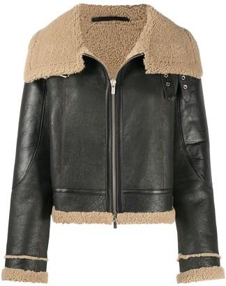 Liska Oversized Collar Trimmed Jacket