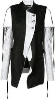 Ann Demeulemeester cold-shoulder panelled coat - women - Silk/Cotton/Linen/Flax - 36