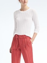 Banana Republic Sheer Cable-Knit Pullover Crew