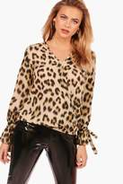 boohoo Tyler Leopard Printed Wrap Over Blouse