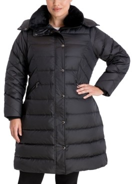 London Fog Plus Size Faux-Fur Collar Hooded Puffer Coat