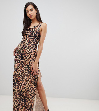Asos DESIGN Tall bias cut leopard print cami maxi dress with drape neck