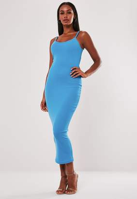Missguided Blue Ribbed Strappy Bodycon Midi Dress