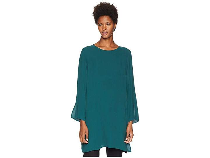 Eileen Fisher Silk Georgette Crepe Round Neck Tunic with Side Slits