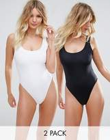 Asos FULLER BUST Supportive Scoop Front Swimsuit Multipack DD-G