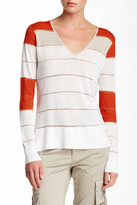 L.A.M.B. Stripe Linen Blend V-Neck Sweater
