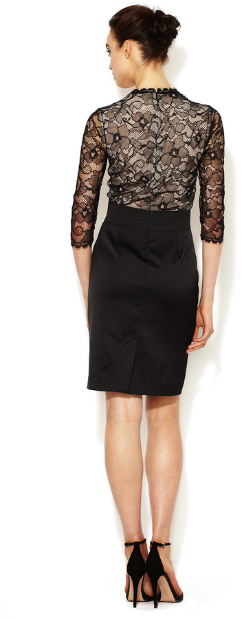 Erin Fetherston Lace Bodice Fitted Sheath Dress