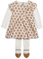 Absorba Girls' Polka-Dotted Dress & Tights Set