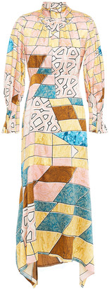 Peter Pilotto Asymmetric Printed Hammered Silk-blend Satin Midi Dress
