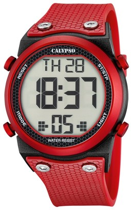 Calypso Unisex Digital Watch with LCD Dial Digital Display and Red Plastic Strap K5705/5