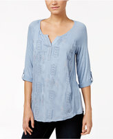 Style&Co. Style & Co Petite Split-Neck Embroidered Top, Only at Macy's