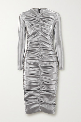 Area Ruched Lurex Dress - Silver