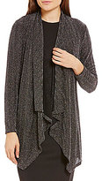 Calvin Klein Metallic Herringbone Stripe Mesh Knit Open-Front Cardigan