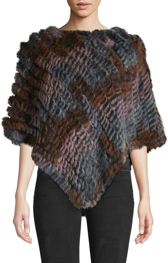Adrienne Landau Textured Rabbit Fur Poncho