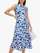 Tommy Hilfiger Pandora Floral Frill Sleeve Dress, Blue
