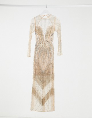 ASOS DESIGN long sleeve fringe embellished maxi dress with open back in pink