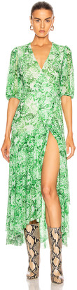 Ganni Printed Mesh Dress in Island Green | FWRD