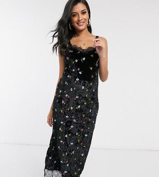 ASOS DESIGN Maternity embroidered velvet midi slip dress with lace trim in black