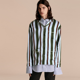 Burberry Pyjama Stripe Silk Cotton Pyjama-style Shirt, Blue