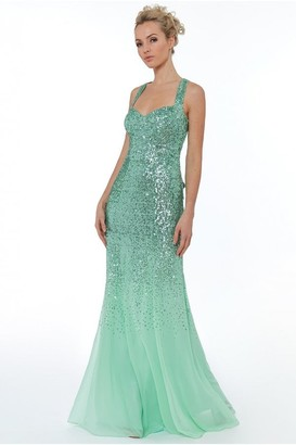 Goddiva Mint Criss Cross Back Sequin Maxi Dress