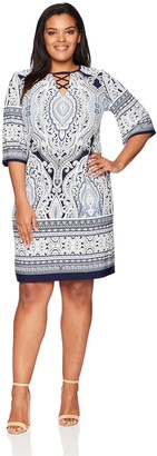 Sandra Darren Women's 1 PC Plus Size 3/4 Sleeve Printed ITY Puff Shift Dress