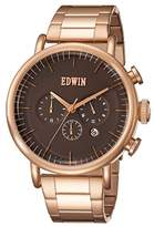 Edwin ELEMENT Men's Rose Gold-Tone Stainless Steel Chronograph Watch with Rose Gold-Tone Stainless Steel Band and Dial