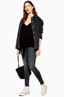 Topshop Womens **Maternity Over The Bump Jamie Jeans In Black Wash - Washed Black
