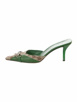 Gucci GG Canvas Leather Mules Green