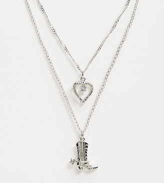 Reclaimed Vintage inspired multirow necklace with cowboy boot and heart charm in silver