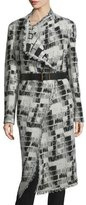 Donna Karan Long-Sleeve Belted Blanket Coat, Black/Ivory
