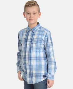 Calvin Klein Big Boys Washout Plaid Cotton Shirt