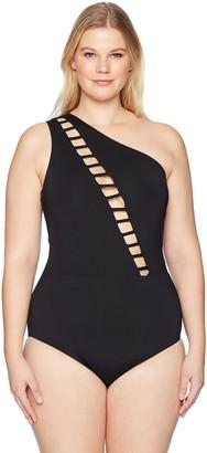 Becca Etc Women's Plus Size Making The Cut Asymmetrical One Piece Swimsuit