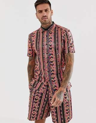 Asos Design DESIGN two-piece regular fit sequin geo-tribal shirt-Pink