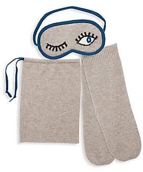 Sofia Cashmere Mini Winking 3-Piece Sleep Mask, Socks & Drawstring Bag Travel Set