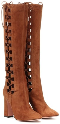 Aquazzura Medina 105 suede knee-high boots