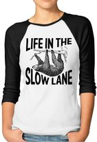Rong T-shirts Women's Life In The Slow Lane Sloth Lovers Hooded Raglan Baseball T-Shirt