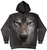 The Mountain Gray Wolf Face Hoodie - Unisex