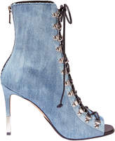 Balmain Denim Lace-Up Booties
