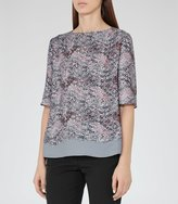 Reiss Chase - Printed Top in Blue, Womens