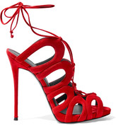 Giuseppe Zanotti Lace-up Suede Sandals - Red