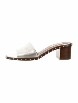 Valentino Leather Studded Accents Slides Silver