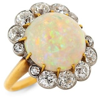 Stephanie Windsor Vintage 18K Yellow Gold, Platinum, Opal & Antique French Belle Diamond Ring
