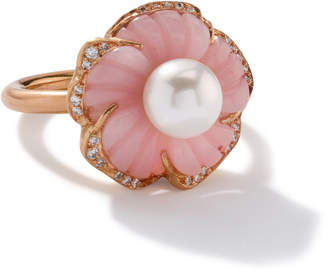 Irene Neuwirth Cherry Blossom Ring set with Pink Opal and Pearl