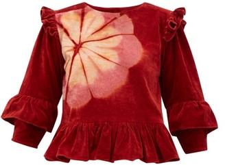 story. Mfg - Alma Floral Tie-dye Cotton-velvet Top - Womens - Burgundy Multi