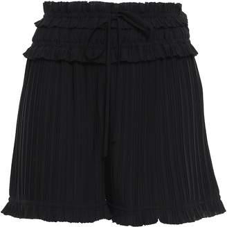 3.1 Phillip Lim Pleated Shirred Crepe De Chine Shorts