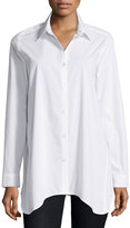 Neiman Marcus Long-Sleeve Collared Shirt w/ Center Back Placket, White
