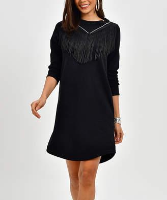 Angele Mode Women's Sweater Dresses Black - Black Fringe Sweater Dress - Women