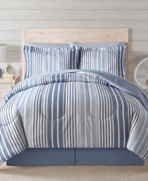 Sunham Closeout! Fairfield Square Coastal Hampton Blue 8Pc Full Comforter Set Bedding